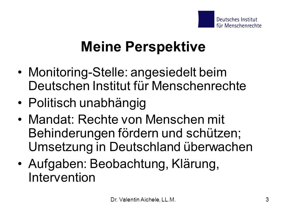 3 Meine Perspektive Monitoring-Stelle: angesiedelt beim Deutschen Institut für Menschenrechte Politisch unabhängig Mandat: Rechte von Menschen mit Beh