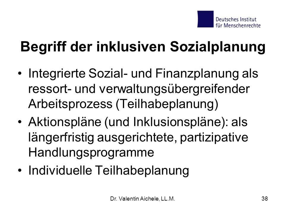 Begriff der inklusiven Sozialplanung Integrierte Sozial- und Finanzplanung als ressort- und verwaltungsübergreifender Arbeitsprozess (Teilhabeplanung)