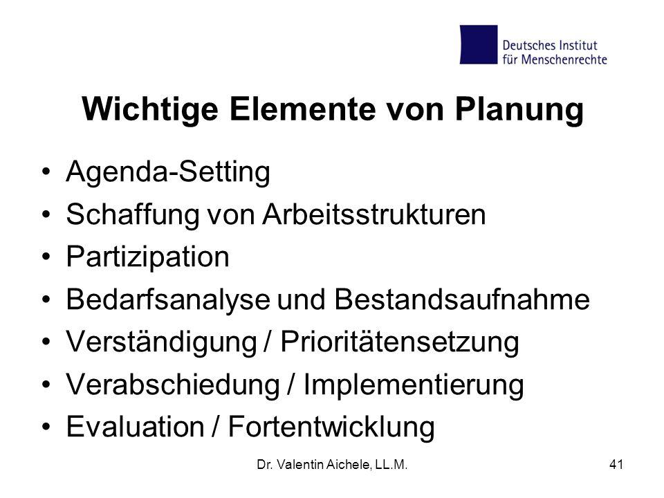 Wichtige Elemente von Planung Agenda-Setting Schaffung von Arbeitsstrukturen Partizipation Bedarfsanalyse und Bestandsaufnahme Verständigung / Priorit