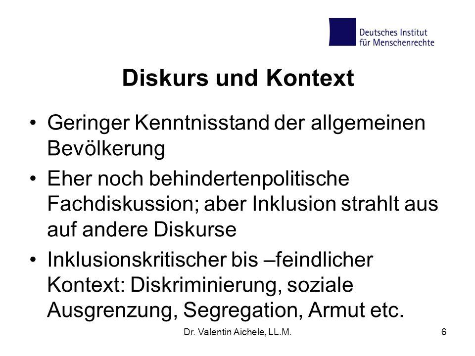 Diskurs und Kontext Geringer Kenntnisstand der allgemeinen Bevölkerung Eher noch behindertenpolitische Fachdiskussion; aber Inklusion strahlt aus auf