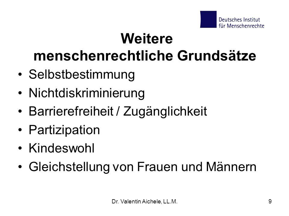 Dr. Valentin Aichele, LL.M.9 Weitere menschenrechtliche Grundsätze Selbstbestimmung Nichtdiskriminierung Barrierefreiheit / Zugänglichkeit Partizipati