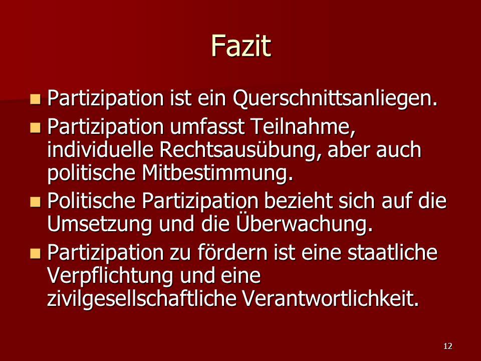 12 Fazit Partizipation ist ein Querschnittsanliegen. Partizipation ist ein Querschnittsanliegen. Partizipation umfasst Teilnahme, individuelle Rechtsa