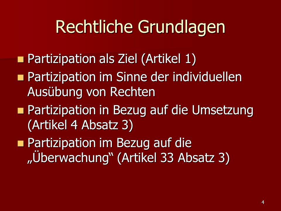 4 Rechtliche Grundlagen Partizipation als Ziel (Artikel 1) Partizipation als Ziel (Artikel 1) Partizipation im Sinne der individuellen Ausübung von Rechten Partizipation im Sinne der individuellen Ausübung von Rechten Partizipation in Bezug auf die Umsetzung (Artikel 4 Absatz 3) Partizipation in Bezug auf die Umsetzung (Artikel 4 Absatz 3) Partizipation im Bezug auf die Überwachung (Artikel 33 Absatz 3) Partizipation im Bezug auf die Überwachung (Artikel 33 Absatz 3)