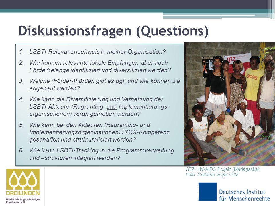 Diskussionsfragen (Questions) 1.LSBTI-Relevanznachweis in meiner Organisation.