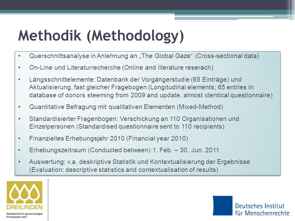 Methodik (Methodology) Querschnittsanalyse in Anlehnung an The Global Gaze (Cross-sectional data) On-Line und Literaturrecherche (Online and literature reserach) Längsschnittelemente: Datenbank der Vorgängerstudie (65 Einträge) und Aktualisierung, fast gleicher Fragebogen (Longitudinal elements; 65 entries in database of donors steeming from 2009 and update, almost identical questionnaire) Quantitative Befragung mit qualitativen Elementen (Mixed-Method) Standardisierter Fragenbogen: Verschickung an 110 Organisationen und Einzelpersonen (Standardised questionnaire sent to 110 recipients) Finanzielles Erhebungsjahr 2010 (Financial year 2010) Erhebungszeitraum (Conducted between) 1.