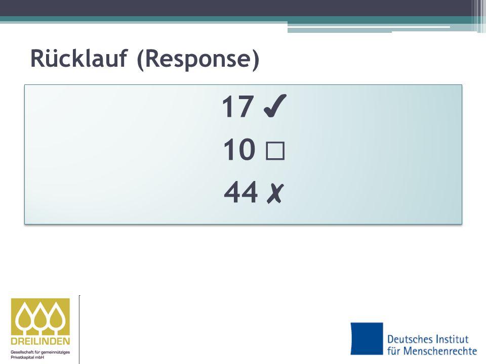 Rücklauf (Response) 17 10 44
