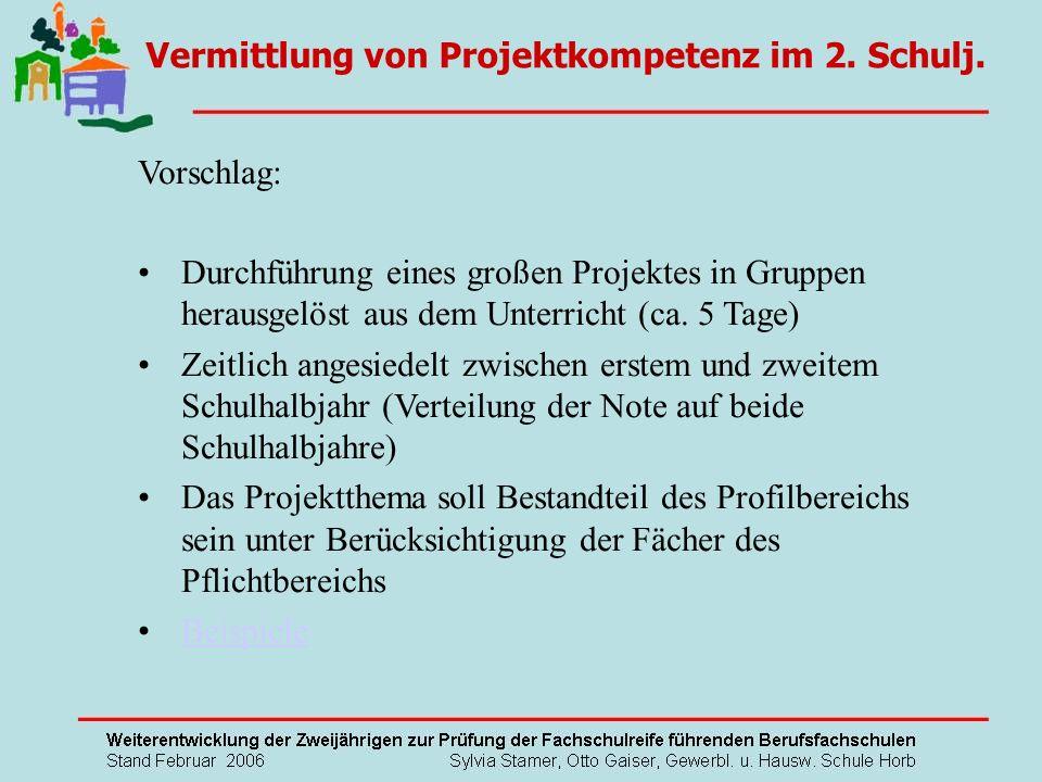 Vorschlag: Durchführung eines großen Projektes in Gruppen herausgelöst aus dem Unterricht (ca. 5 Tage) Zeitlich angesiedelt zwischen erstem und zweite