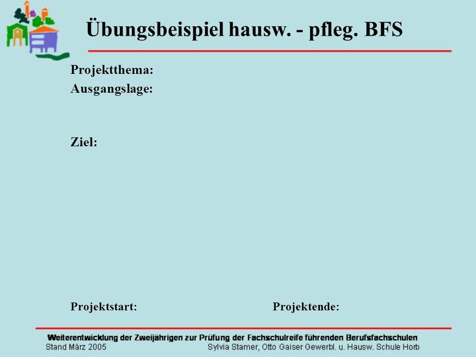 Projektthema: Ausgangslage: Ziel: Projektstart: Projektende: Übungsbeispiel hausw. - pfleg. BFS