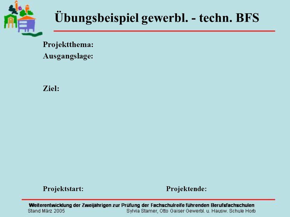 Projektthema: Ausgangslage: Ziel: Projektstart: Projektende: Übungsbeispiel gewerbl. - techn. BFS