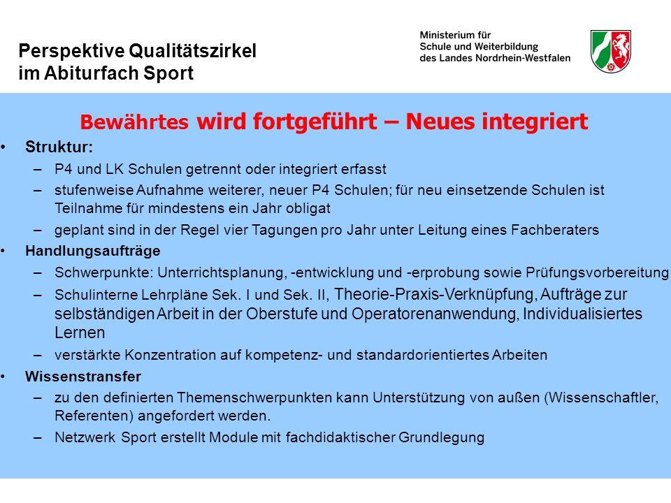 Perspektive Qualitätszirkel im Abiturfach Sport Bewährtes wird fortgeführt – Neues integriert Struktur: –P4 und LK Schulen getrennt oder integriert er