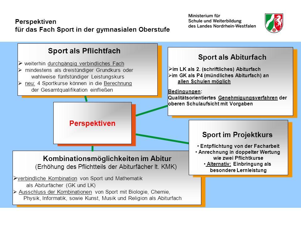 Perspektiven für das Fach Sport in der gymnasialen Oberstufe Sport als Abiturfach im LK als 2. (schriftliches) Abiturfach im GK als P4 (mündliches Abi