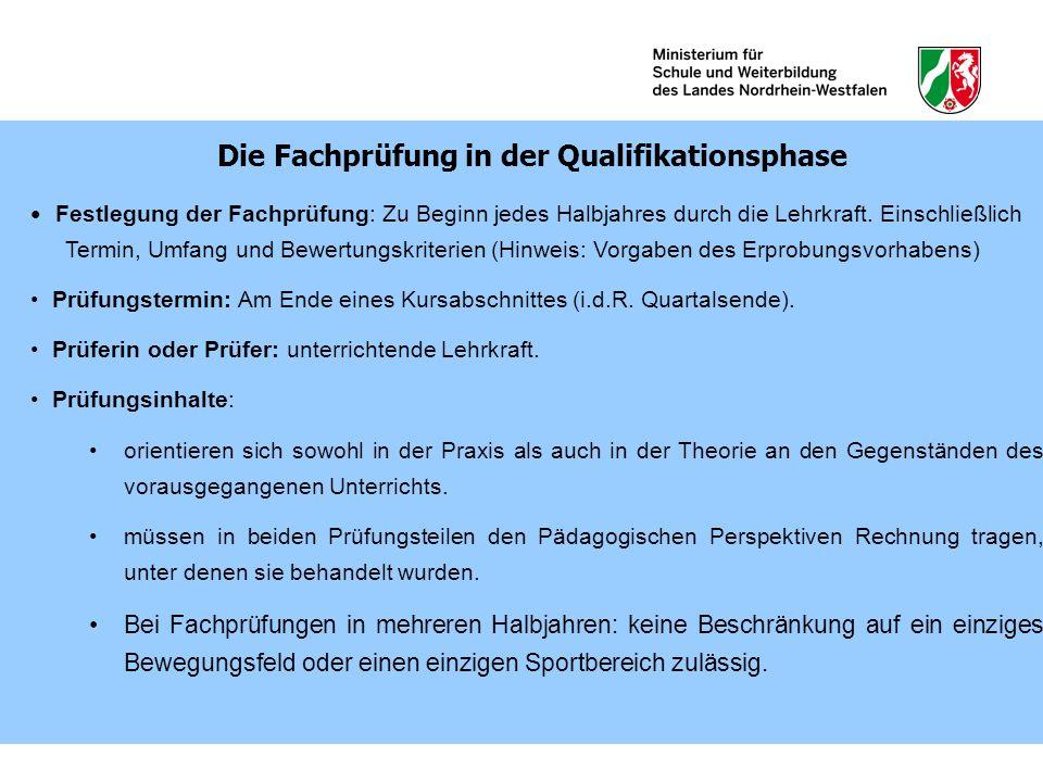 Festlegung der Fachprüfung: Zu Beginn jedes Halbjahres durch die Lehrkraft. Einschließlich Termin, Umfang und Bewertungskriterien (Hinweis: Vorgaben d