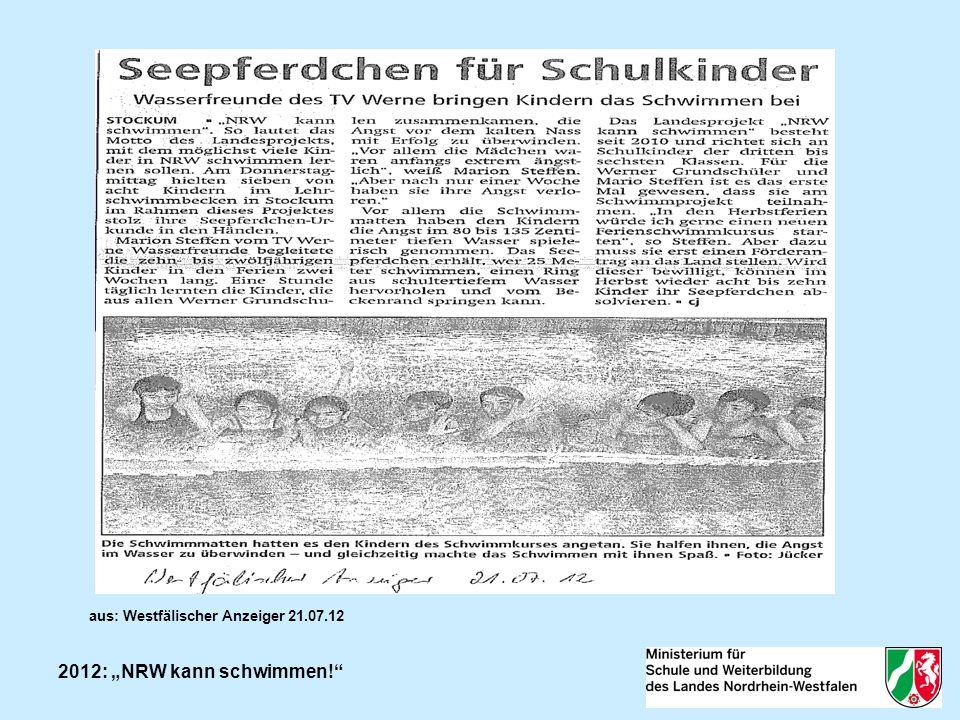 2012: NRW kann schwimmen! aus: Westfälischer Anzeiger 21.07.12