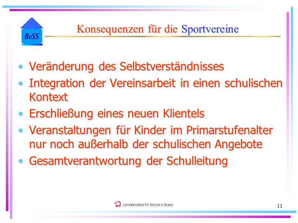 Landesinstitut für Schule in Soest 11 Veränderung des SelbstverständnissesVeränderung des Selbstverständnisses Integration der Vereinsarbeit in einen