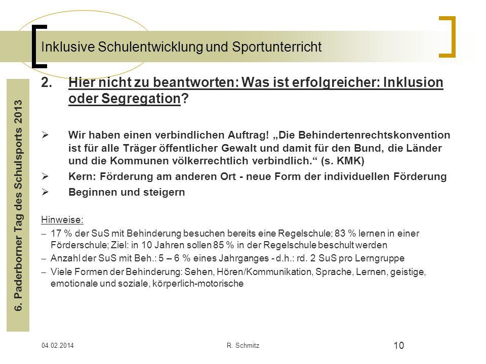 04.02.2014R. Schmitz 10 Inklusive Schulentwicklung und Sportunterricht 2.Hier nicht zu beantworten: Was ist erfolgreicher: Inklusion oder Segregation?