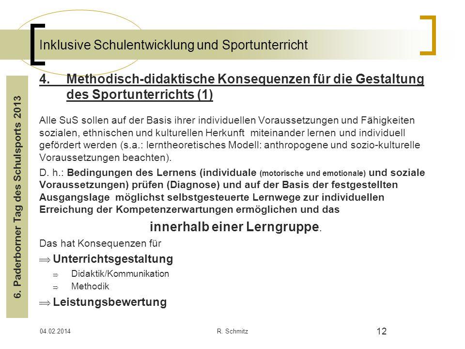 04.02.2014R. Schmitz 12 Inklusive Schulentwicklung und Sportunterricht 4.Methodisch-didaktische Konsequenzen für die Gestaltung des Sportunterrichts (