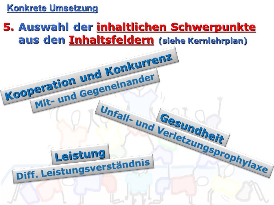 Konkrete Umsetzung 5.Auswahl der inhaltlichen Schwerpunkte aus den Inhaltsfeldern (siehe Kernlehrplan) Kooperation und Konkurrenz GesundheitGesundheit LeistungLeistung