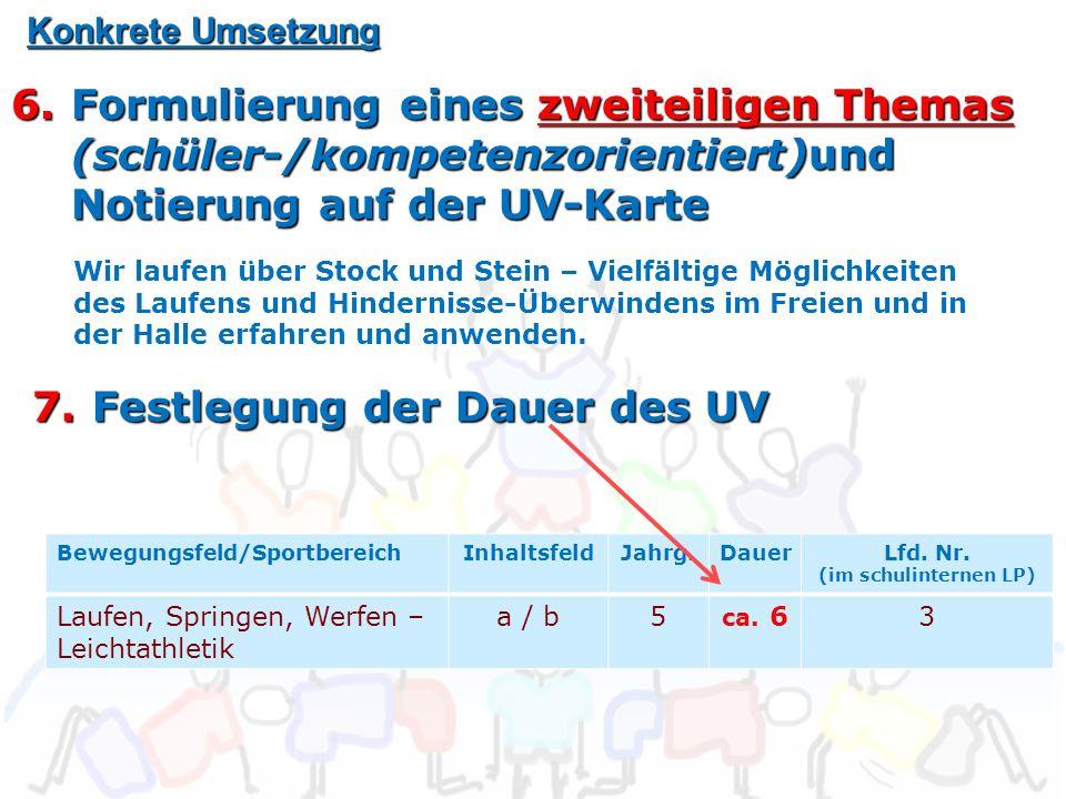Konkrete Umsetzung 6.Formulierung eines zweiteiligen Themas (schüler-/kompetenzorientiert)und Notierung auf der UV-Karte Bewegungsfeld/SportbereichInhaltsfeldJahrg.DauerLfd.