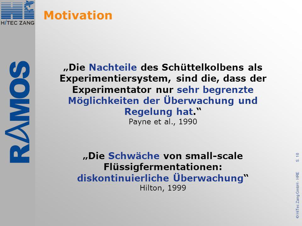 S. 10 © HiTec Zang GmbH - HRE Motivation Die Nachteile des Schüttelkolbens als Experimentiersystem, sind die, dass der Experimentator nur sehr begrenz
