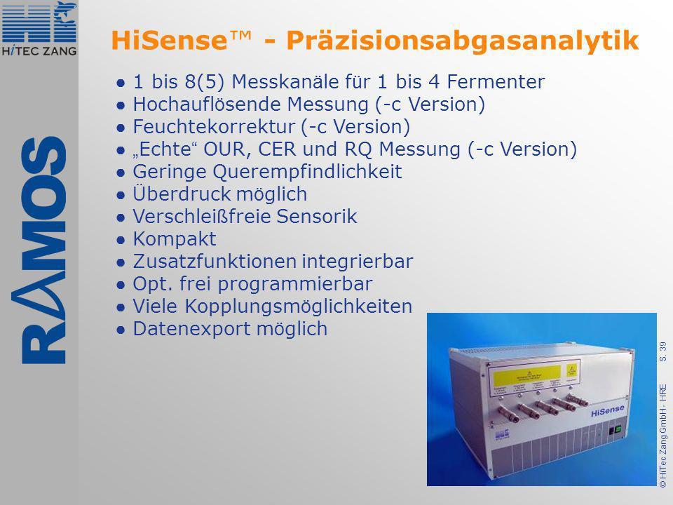 S. 39 © HiTec Zang GmbH - HRE 1 bis 8(5) Messkan ä le f ü r 1 bis 4 Fermenter Hochaufl ö sende Messung (-c Version) Feuchtekorrektur (-c Version) Echt