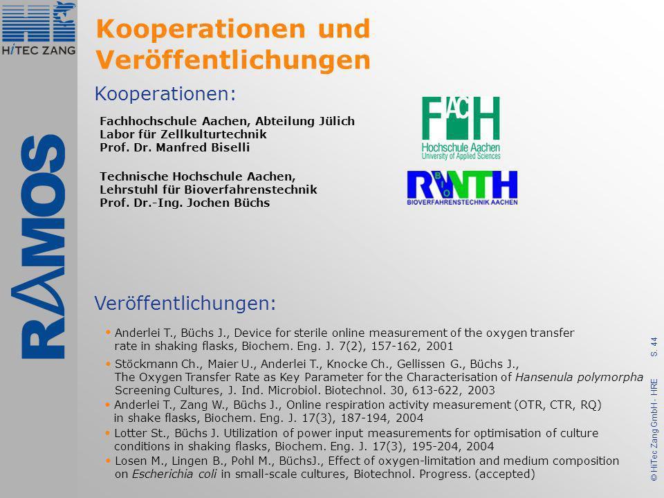 S. 44 © HiTec Zang GmbH - HRE Kooperationen und Veröffentlichungen Kooperationen: Veröffentlichungen: Anderlei T., Büchs J., Device for sterile online