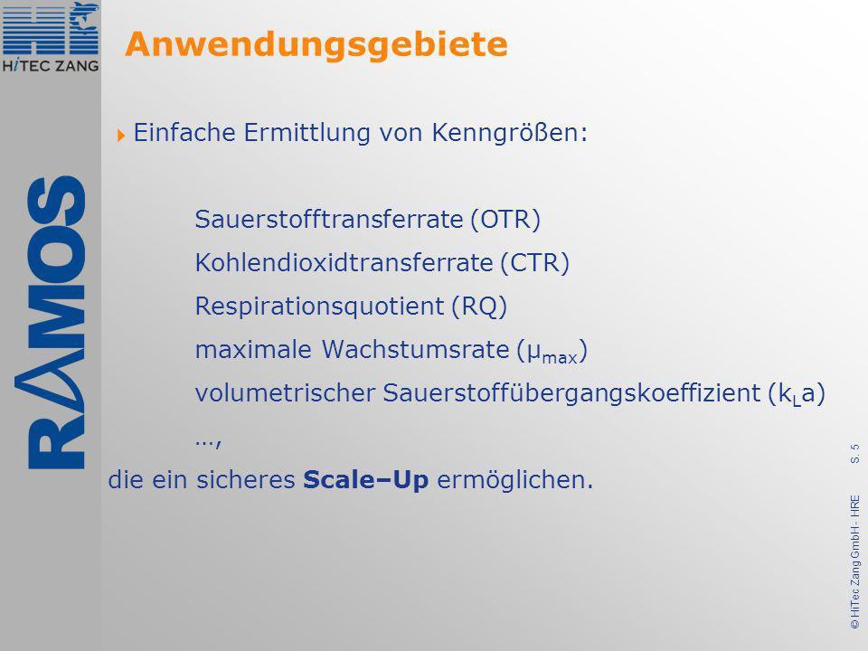S. 5 © HiTec Zang GmbH - HRE Einfache Ermittlung von Kenngrößen: Sauerstofftransferrate (OTR) Kohlendioxidtransferrate (CTR) Respirationsquotient (RQ)
