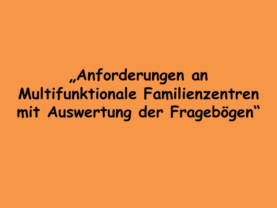 Anforderungen an Multifunktionale Familienzentren mit Auswertung der Fragebögen