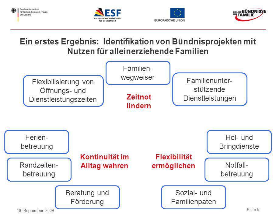 10. September 2009 Seite 5 Ein erstes Ergebnis: Identifikation von Bündnisprojekten mit Nutzen für alleinerziehende Familien Sozial- und Familienpaten