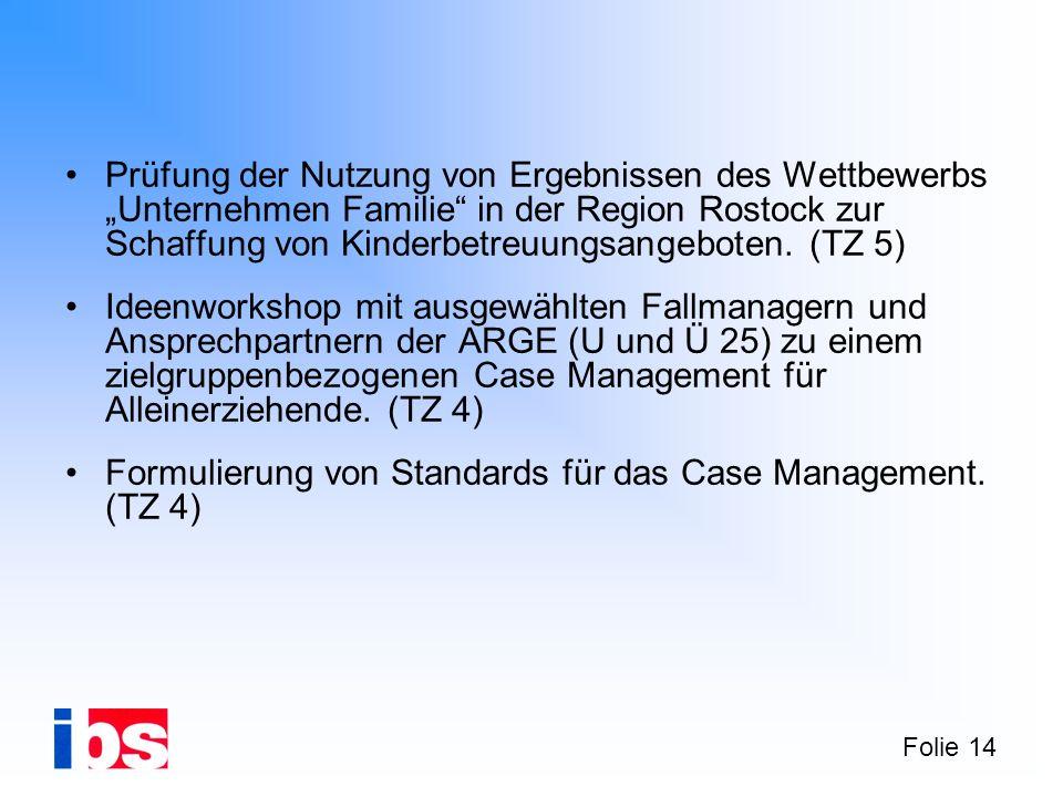 Folie 14 Prüfung der Nutzung von Ergebnissen des Wettbewerbs Unternehmen Familie in der Region Rostock zur Schaffung von Kinderbetreuungsangeboten.