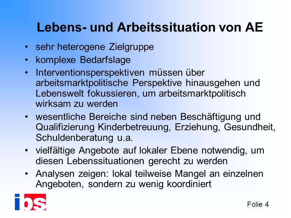 Folie 4 Lebens- und Arbeitssituation von AE sehr heterogene Zielgruppe komplexe Bedarfslage Interventionsperspektiven müssen über arbeitsmarktpolitisc