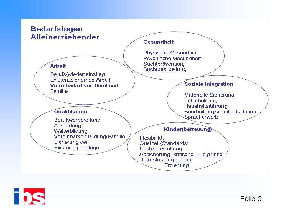 Folie 16 Welcher Grad an Kooperation verschiedener arbeitsmarktpolitisch ausgerichteter Organisationen und Netzwerke notwendig ist, um die Integration von Alleinerziehenden in den ersten Arbeitsmarkt zu verbessern und/oder sie zumindest in ihrer Lebenssituation zu stabilisieren, ist die zentrale Frage des Modellprojektes.