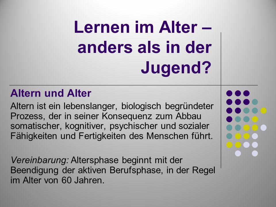 Phasen des Alters Autonomes Alter (3.Lebensalter) 60 bis 80 Jahre Abhängiges Alter (4.