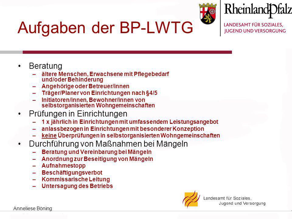 Aufgaben der BP-LWTG Beratung –ältere Menschen, Erwachsene mit Pflegebedarf und/oder Behinderung –Angehörige oder Betreuer/innen –Träger/Planer von Ei