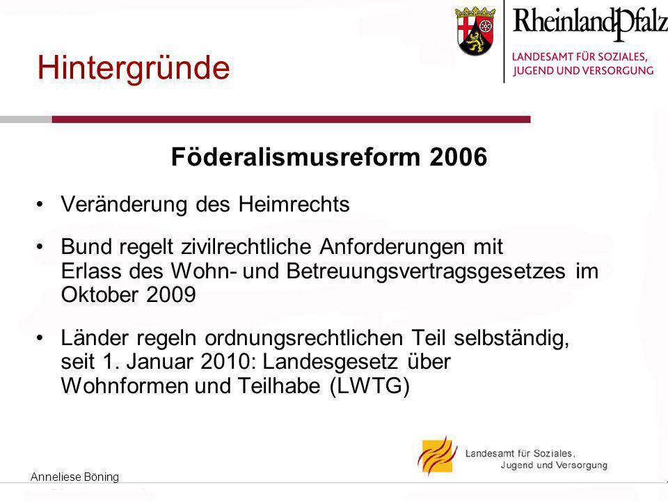 Hintergründe Föderalismusreform 2006 Veränderung des Heimrechts Bund regelt zivilrechtliche Anforderungen mit Erlass des Wohn- und Betreuungsvertragsgesetzes im Oktober 2009 Länder regeln ordnungsrechtlichen Teil selbständig, seit 1.