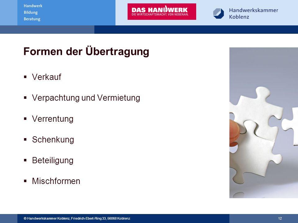 © Handwerkskammer Musterstadt, Musterstraße 123, 12345 Musterstadt © Handwerkskammer Koblenz, Friedrich-Ebert-Ring 33, 56068 Koblenz 12 Formen der Übe
