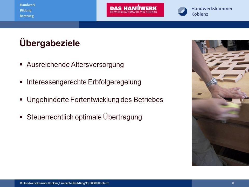 © Handwerkskammer Musterstadt, Musterstraße 123, 12345 Musterstadt © Handwerkskammer Koblenz, Friedrich-Ebert-Ring 33, 56068 Koblenz 6 Übergabeziele A