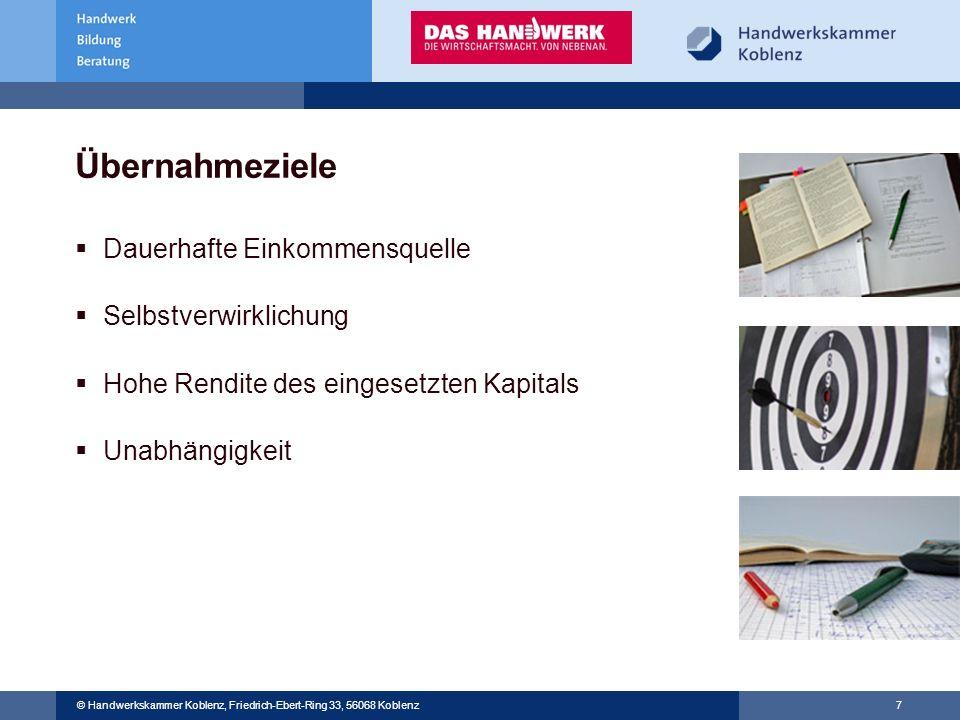 © Handwerkskammer Musterstadt, Musterstraße 123, 12345 Musterstadt © Handwerkskammer Koblenz, Friedrich-Ebert-Ring 33, 56068 Koblenz 7 Übernahmeziele