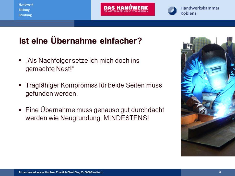 © Handwerkskammer Musterstadt, Musterstraße 123, 12345 Musterstadt © Handwerkskammer Koblenz, Friedrich-Ebert-Ring 33, 56068 Koblenz 8 Ist eine Überna