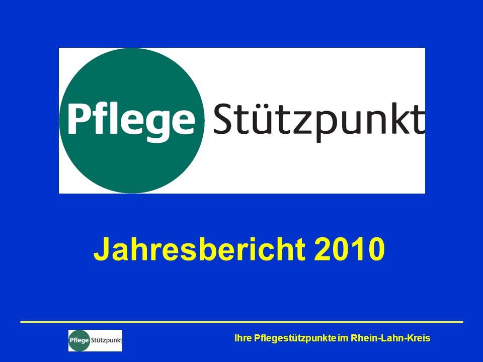 Das Jahr 2010 stand im Zeichen der Weiterentwicklung der ehemaligen BeKo-Stellen zu Pflegestützpunkten (PSPs) Ihre Pflegestützpunkte im Rhein-Lahn-Kreis Erster offizieller Start: Diez – 1.