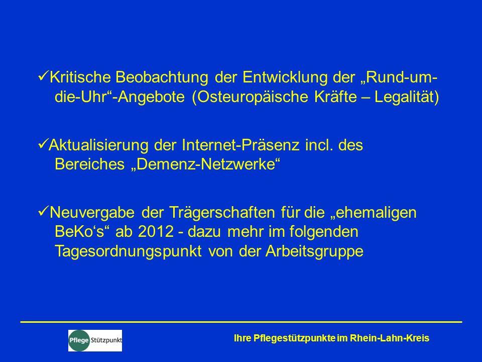 Kritische Beobachtung der Entwicklung der Rund-um- die-Uhr-Angebote (Osteuropäische Kräfte – Legalität) Aktualisierung der Internet-Präsenz incl. des