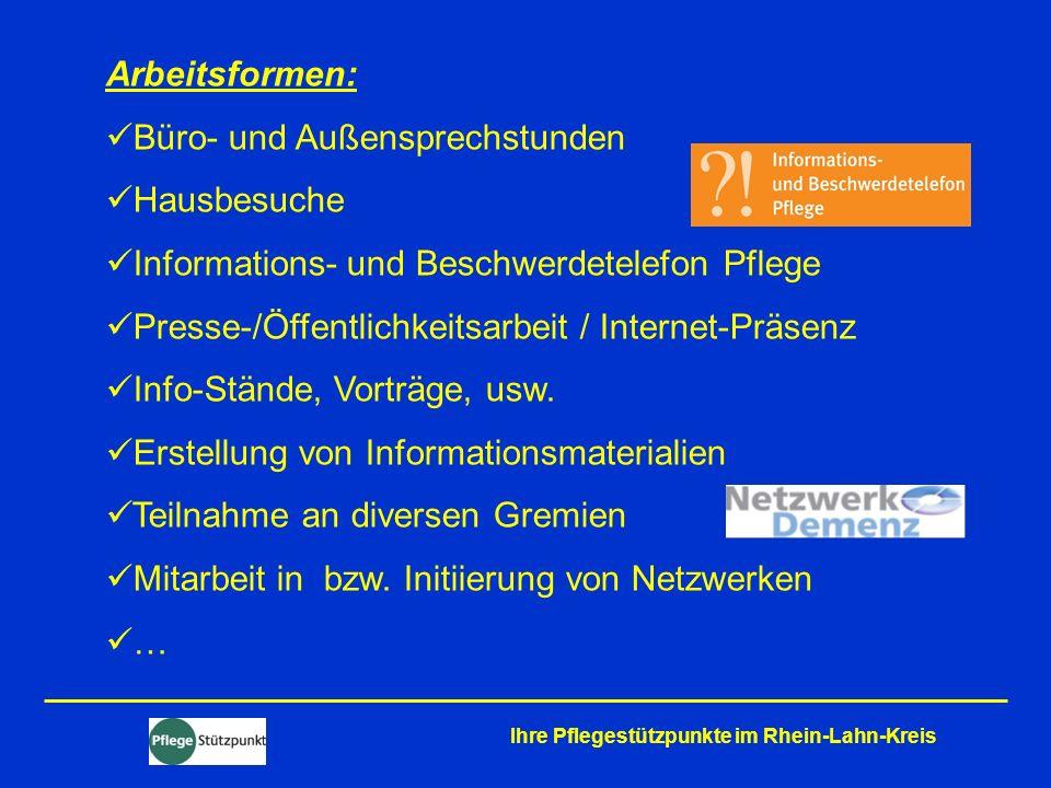 Ihre Pflegestützpunkte im Rhein-Lahn-Kreis Zahlen und Daten 1.274 Beratungen – plus 11,5 % gegenüber 2009 750 Hausbesuche 81 Klienten orientierte Außenkontakte 643 Sprechstundenbesuche 442 Informationskontakte – plus 1,6 % 130 Beschwerden – plus 8,3 %