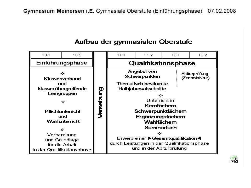 Gymnasium Meinersen i.E. Gymnasiale Oberstufe (Einführungsphase) 07.02.2008