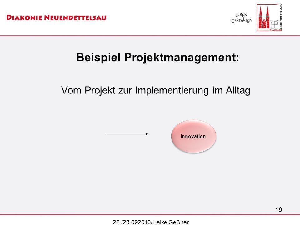 19 Beispiel Projektmanagement: Vom Projekt zur Implementierung im Alltag 19 22./23.092010/Heike Geßner Innovation