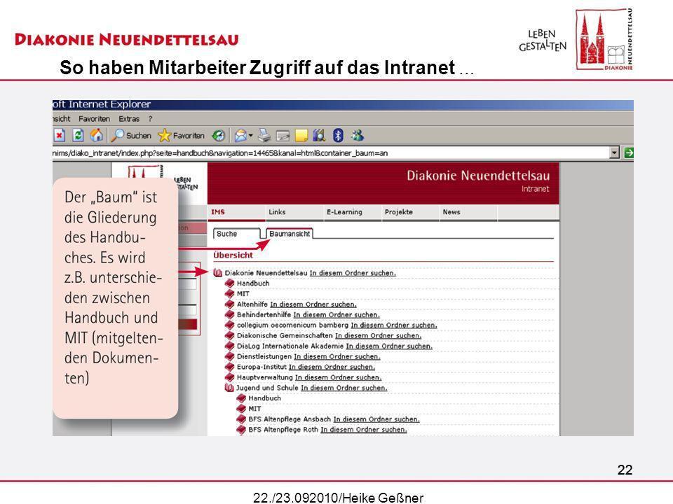 22 22./23.092010/Heike Geßner So haben Mitarbeiter Zugriff auf das Intranet …