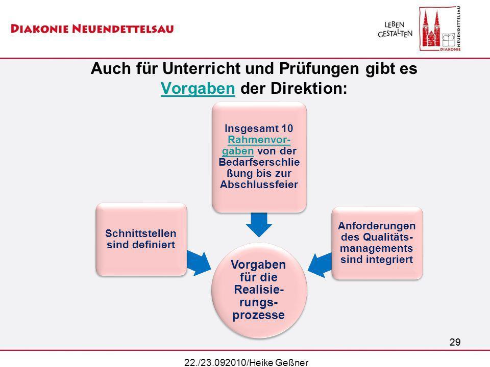 29 Auch für Unterricht und Prüfungen gibt es Vorgaben der Direktion: Vorgaben 22./23.092010/Heike Geßner 29 Vorgaben für die Realisie- rungs- prozesse