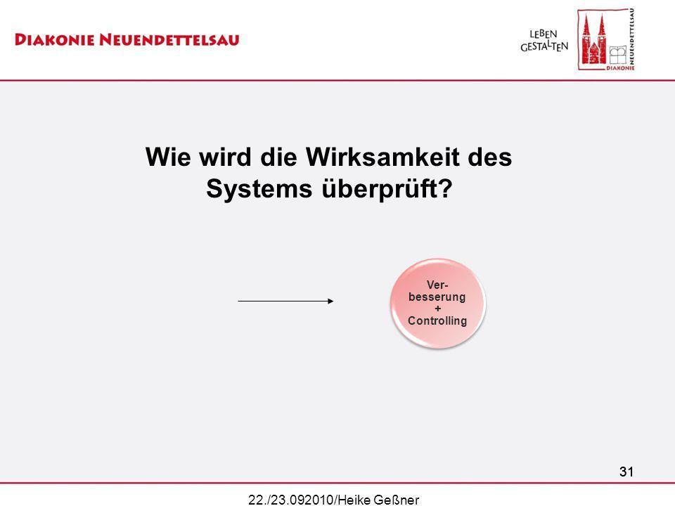 31 Ver- besserung + Controlling Wie wird die Wirksamkeit des Systems überprüft? 31 22./23.092010/Heike Geßner