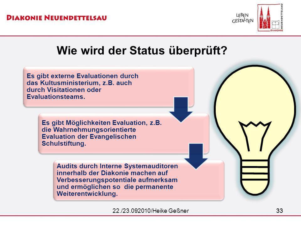 33 Wie wird der Status überprüft? 22./23.092010/Heike Geßner33 Es gibt externe Evaluationen durch das Kultusministerium, z.B. auch durch Visitationen