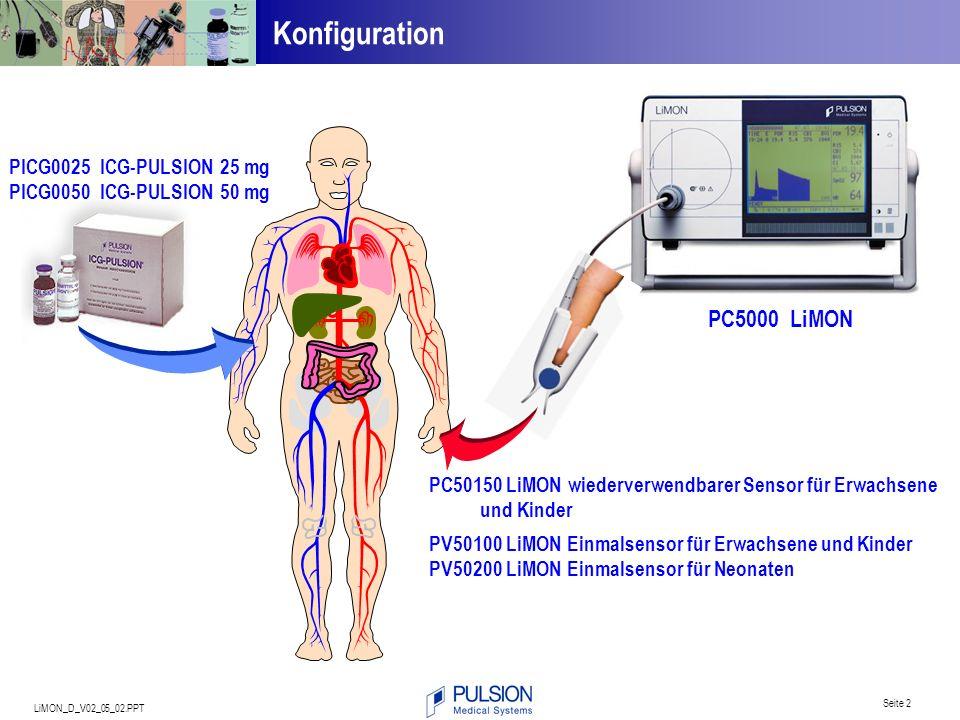 LiMON_D_V02_05_02.PPT Seite 2 Konfiguration PC50150 LiMON wiederverwendbarer Sensor für Erwachsene und Kinder PV50100 LiMON Einmalsensor für Erwachsen
