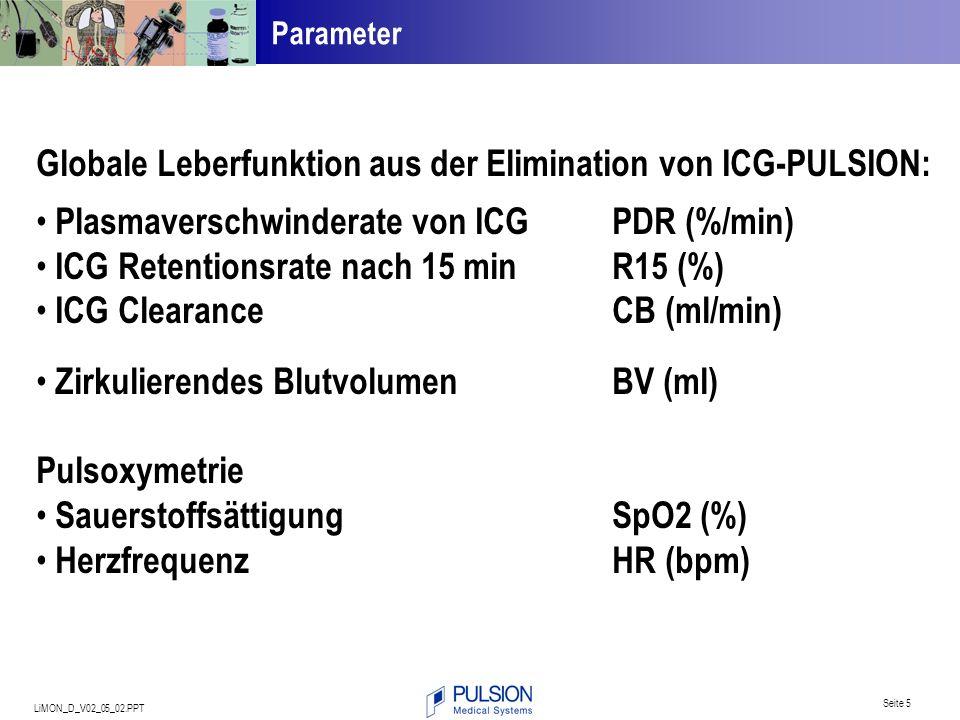 LiMON_D_V02_05_02.PPT Seite 5 Globale Leberfunktion aus der Elimination von ICG-PULSION: Plasmaverschwinderate von ICGPDR (%/min) ICG Retentionsrate n