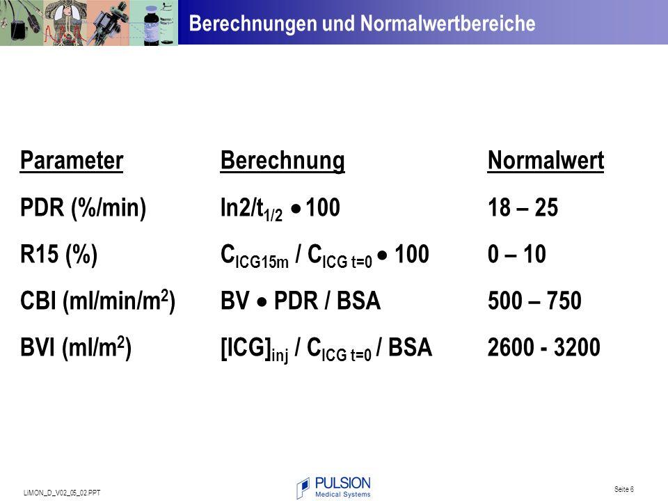 LiMON_D_V02_05_02.PPT Seite 6 ParameterBerechnungNormalwert PDR (%/min)ln2/t 1/2 10018 – 25 R15 (%) C ICG15m / C ICG t=0 1000 – 10 CBI (ml/min/m 2 ) B